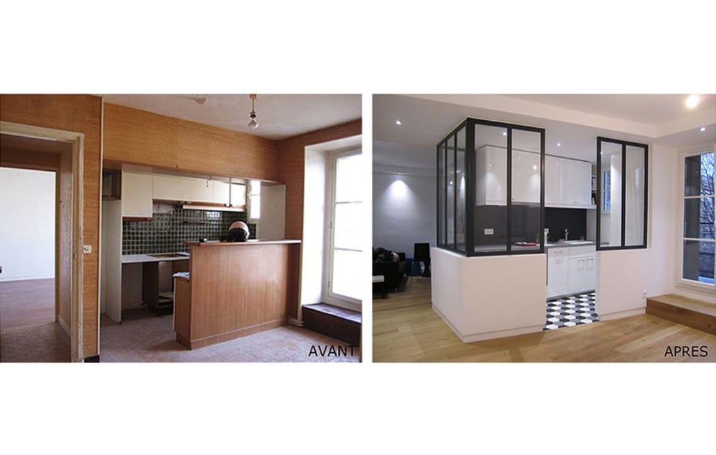r novation appartement paris x rn architecture. Black Bedroom Furniture Sets. Home Design Ideas