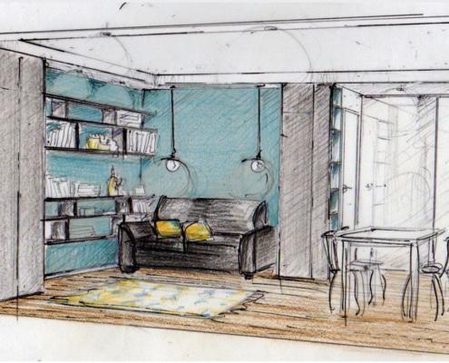 Esquisse Salon et Bibliothèque