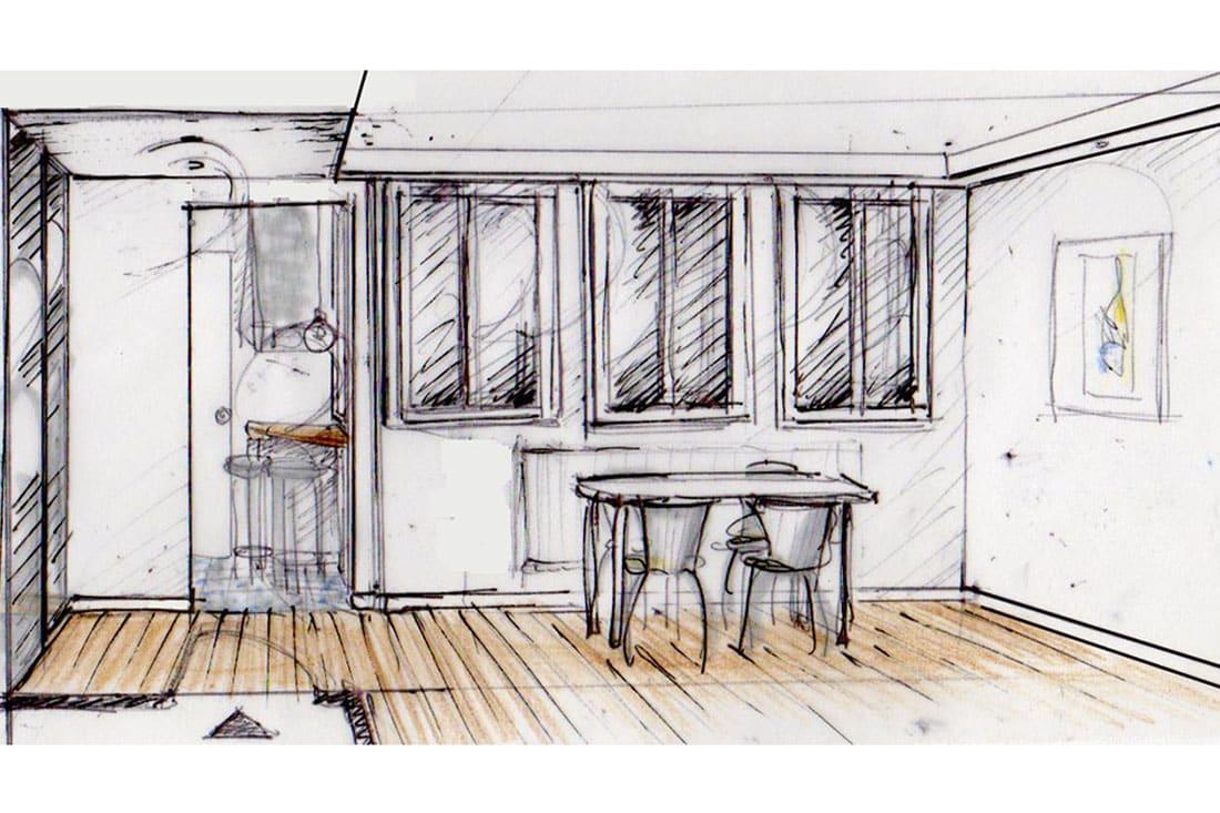 Esquisse Salle à Manger sous les fenêtres
