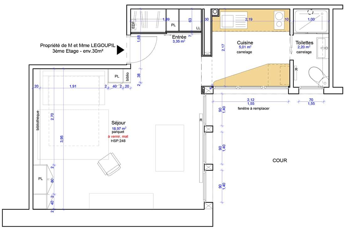 Plan du Studio après rénovation