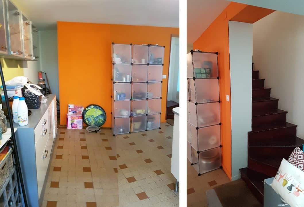 Rénovation de Cuisine : Mur et escalier de la cuisine avant transformation