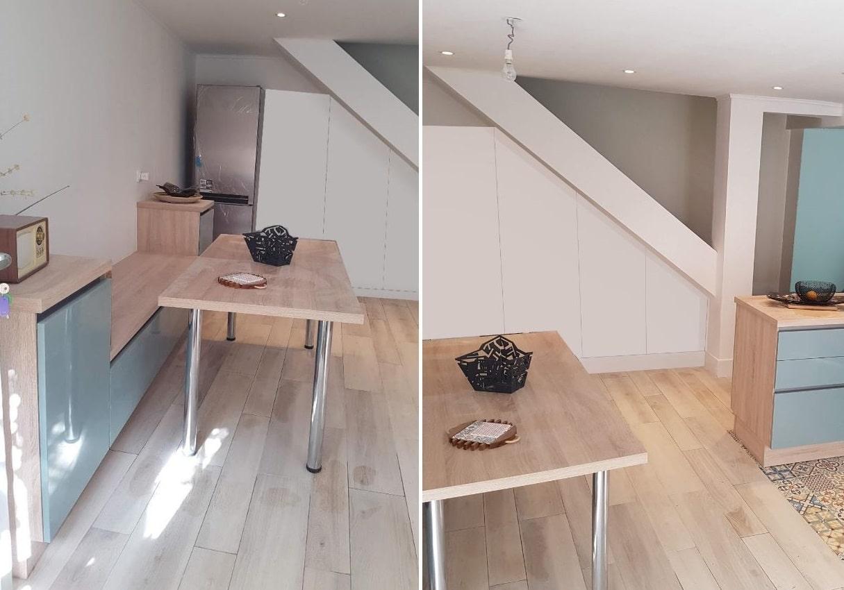 Rénovation de Cuisine : création de la Salle à manger et mise en valeur de l'escalier