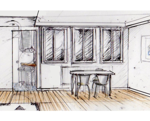 Esquisse Salon côté fenêtres